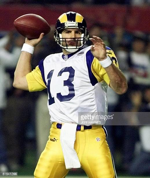 St Louis Rams quarterback Kurt Warner gets ready to pass during first half action in Super Bowl XXXIV at the Georgia Dome in Atlanta GA 30 January...