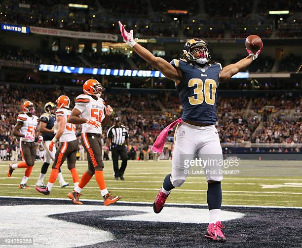 St Louis Rams running back Todd Gurley reacts after scoring his first career NFL touchdown during third quarter action on Sunday Oct 25 at Edward...
