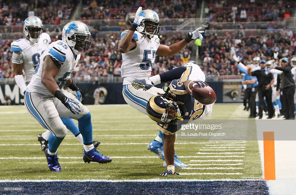 St. Louis Rams running back Todd Gurley scores on a five-yard touchdown run during third quarter action on Sunday, Dec. 13, 2015, at Edward Jones Dome in St. Louis.