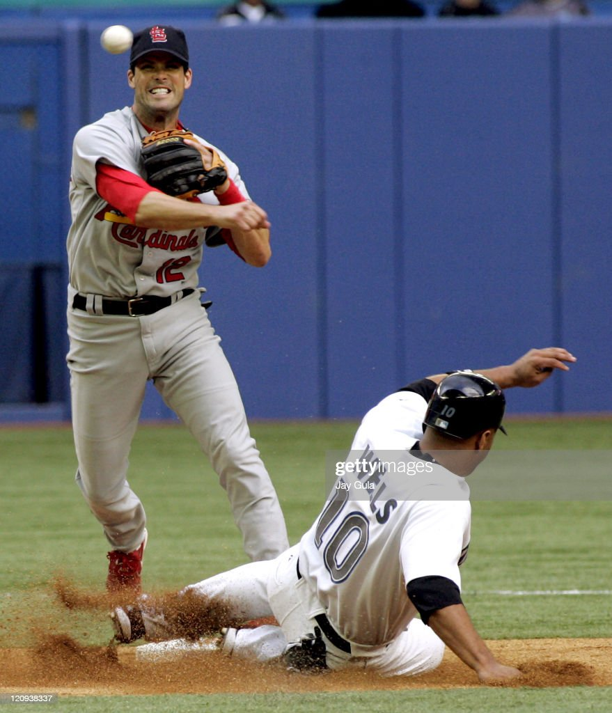 St. Louis second baseman Mark Grudzielanek turns a double play over Toronto outfielder Vernon Wells. The Toronto Blue Jays defeated the St. Louis Cardinals 5-2 at the Rogers Centre in Toronto, Canada, on June 15, 2005.