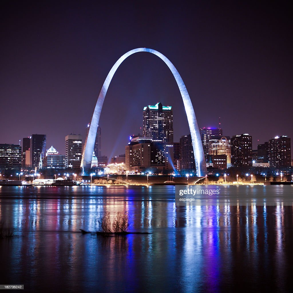 St. Louis skyline and arch at night