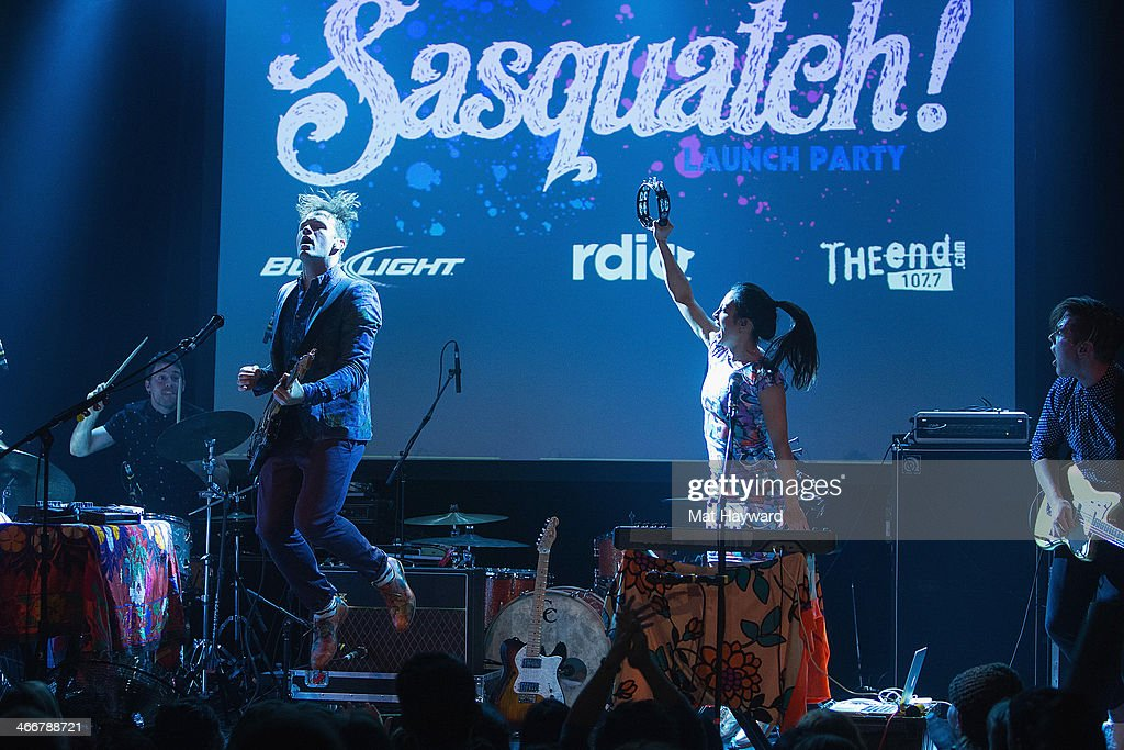 St. Lucia performs on stage at Neptune Theatre on February 3, 2014 in Seattle, Washington.