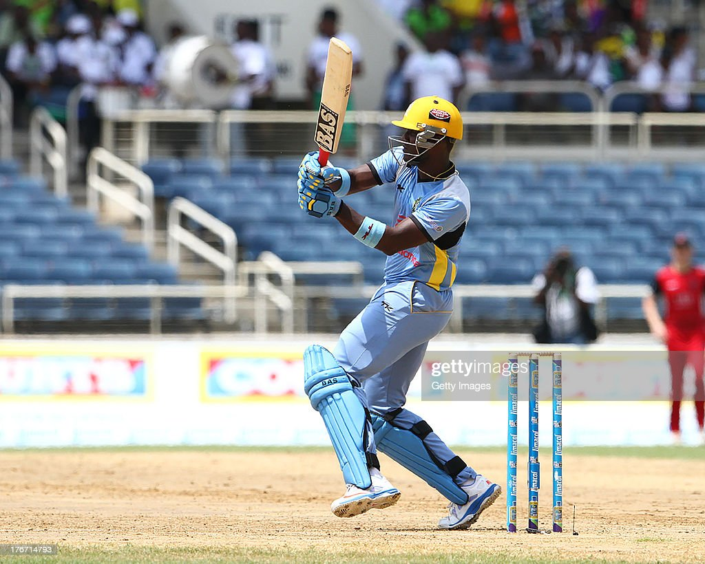 St Lucia Zouks captain Darren Sammy pulls during the Eighteenth Match of the Cricket Caribbean Premier League between St. Lucia Zouks v Trinidad and Tobago Red Steel at Sabina Park on August 17, 2013 in Kingston, Jamaica.