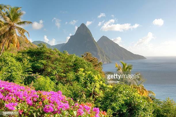 Cime gemelle dei monti Piton di Santa Lucia all'alba
