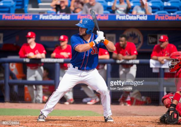 St Lucie Mets Outfielder Tim Tebow bats during the first game of a double header MiLB minor league baseball game between the Palm Beach Cardinals and...