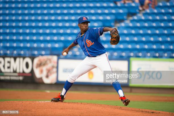 St Lucie Mets Pitcher Justin Dunn throws the ball from the mound during the first game of a double header MiLB minor league baseball game between the...