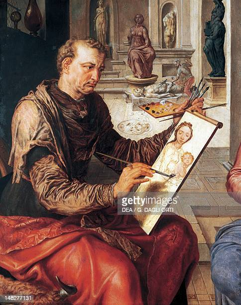 St Luke painting the Virgin 15501553 by Maerten van Heemskerck oil on canvas 206x144 cm Detail Rennes Musée Des BeauxArts