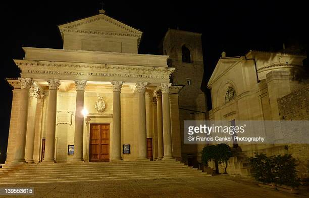 St. Marinus cathedral at night, San Marino