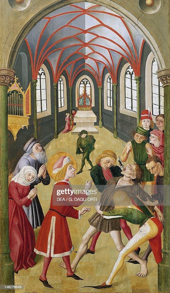 St Martin exorcising a demon the late 15th century unknown painter Colmar Musée D'Unterlinden