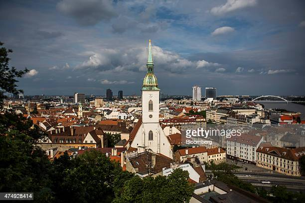 St Martin's Cathedral stands above commercial and residential property on the city skyline in Bratislava Slovakia on Wednesday May 27 2015 The Slovak...