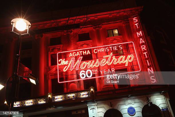 St Martins Theatre in the West End showing Agatha Christie's 'The Mousetrap' which is the longest running show in the world is illuminated at night...