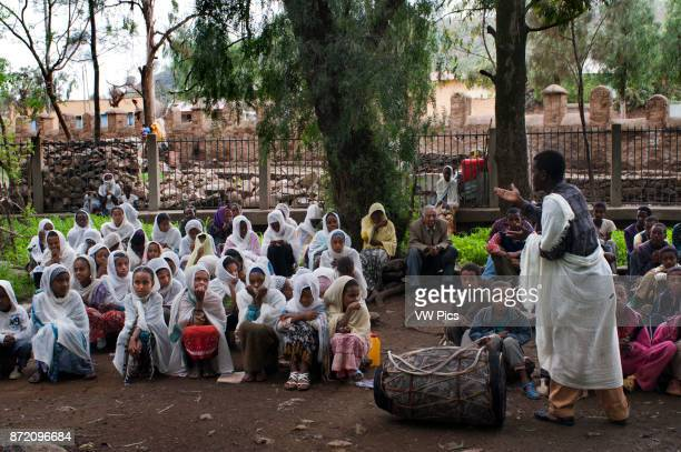 St Mary of Zion church Aksum Ethiopia Several separated boys and girls are doing catechesis inside the church of St Mary of Zion in Axum The Ark of...