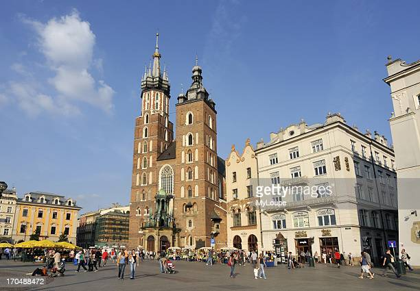 St Mary's Basilica 14th Century Brick Gothic Church in Main Market Square in Krakow Poland