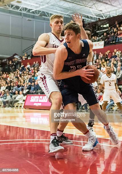 St Mary's Gaels forward Dane Pineau in the paint trying to get through during the regular season game between the Saint Mary's Gaels and the Santa...