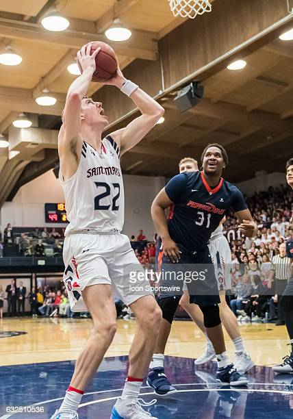 St Mary's Gaels forward Dane Pineau snags a rebound during the regular season game between Pepperdine and Saint Mary's basketball on January 21 2017...
