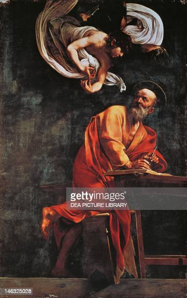St Matthew and the Angel by Michelangelo Merisi da Caravaggio oil on canvas 295x195 cm Church of St Louis of France Contarelli Chapel Rome