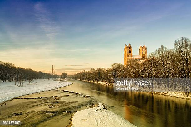 St. Maximilian and river Isar in Munich
