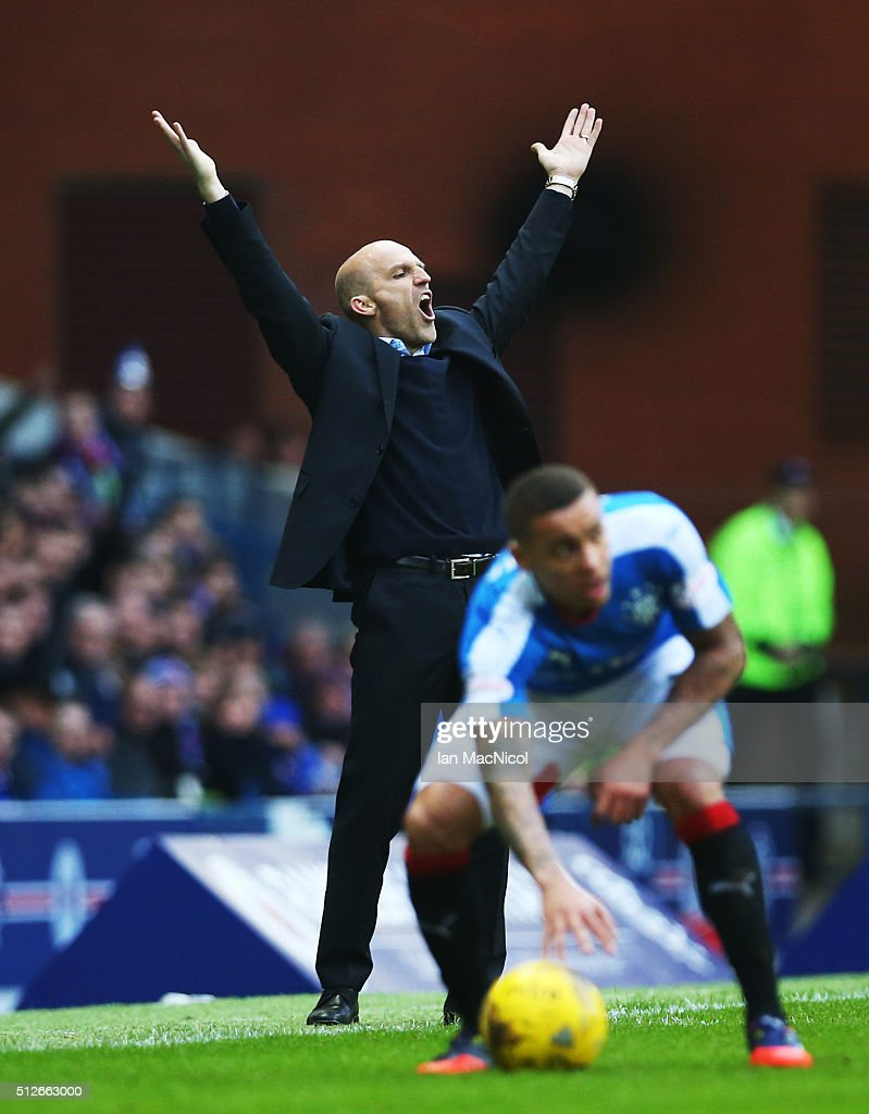St Mirren Manager Alex Rae reacts during the Scottish Championship match between Rangers and St. Mirren at Ibrox Stadium on February 27, 2016 in Glasgow, Scotland.