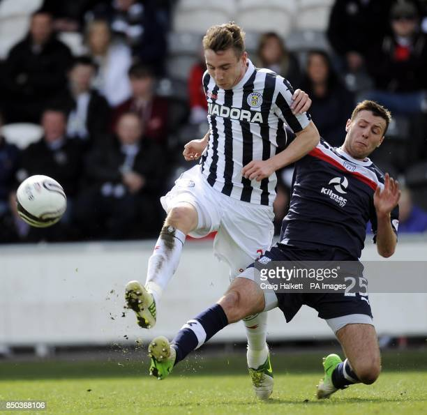 St Mirren's Paul Dummett and Dundee's Lewis Toshney tussle for the ball during the Clydesdale Banks Scottish Premier League match at St Mirren Parkm...