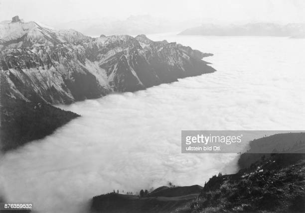 St Moritz mountain peaks above the blanket of clouds with Mont Blanc in the distance G R Ballance St Moritz Vintage property of Ullstein Bild