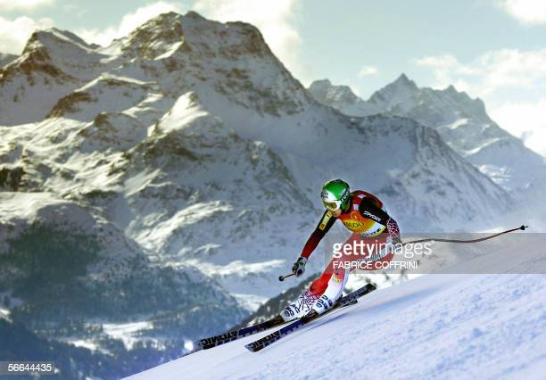 Austrian Michaela Dorfmeister competes during the downhill event of the Alpine skiing World Cup women's Supercombined race in St Moritz 22 January...