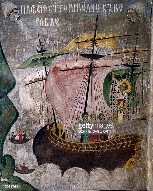 St Nicholas' ship in the storm detail from The life of St Nicholas fresco in the Sucevita Monastery Romania 16th century