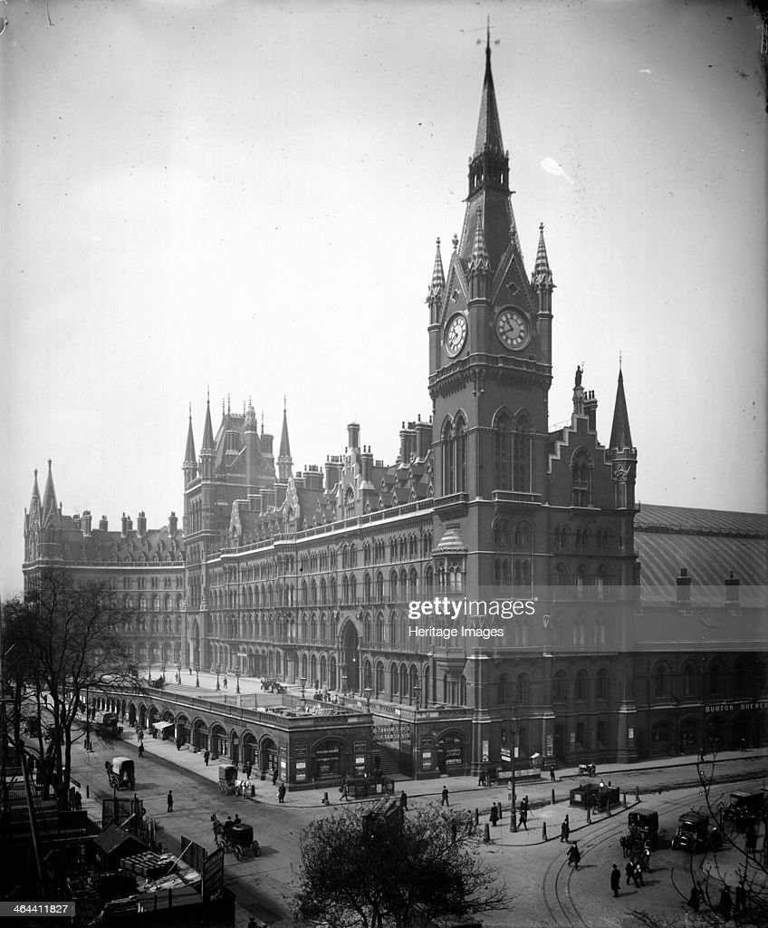 St Pancras Hotel Camden London from the east c1910 The hotel was designed by Sir George Gilbert Scott and opened in 1874 The pinnacled clock tower...