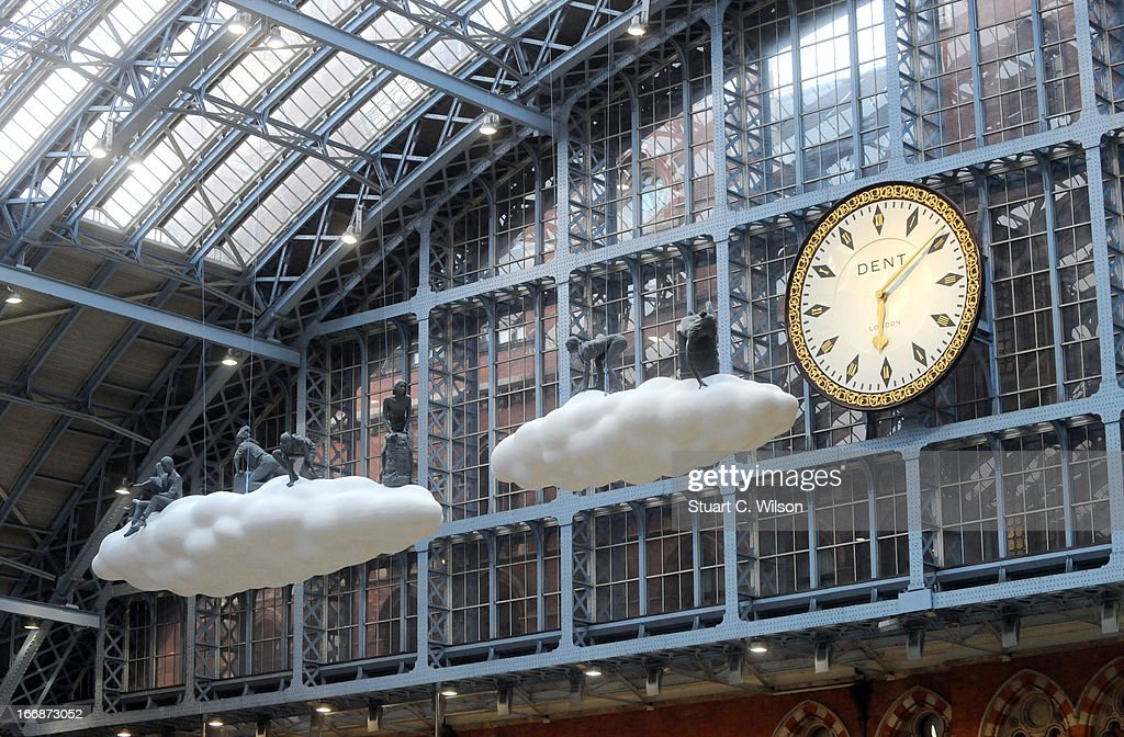 St Pancras International launches majestic new public artwork called 'Cloud : Meteoros' by Lucy & Jorge Orta for a new initiative called 'Terrace Wires' on April 18, 2013 in London, United Kingdom.