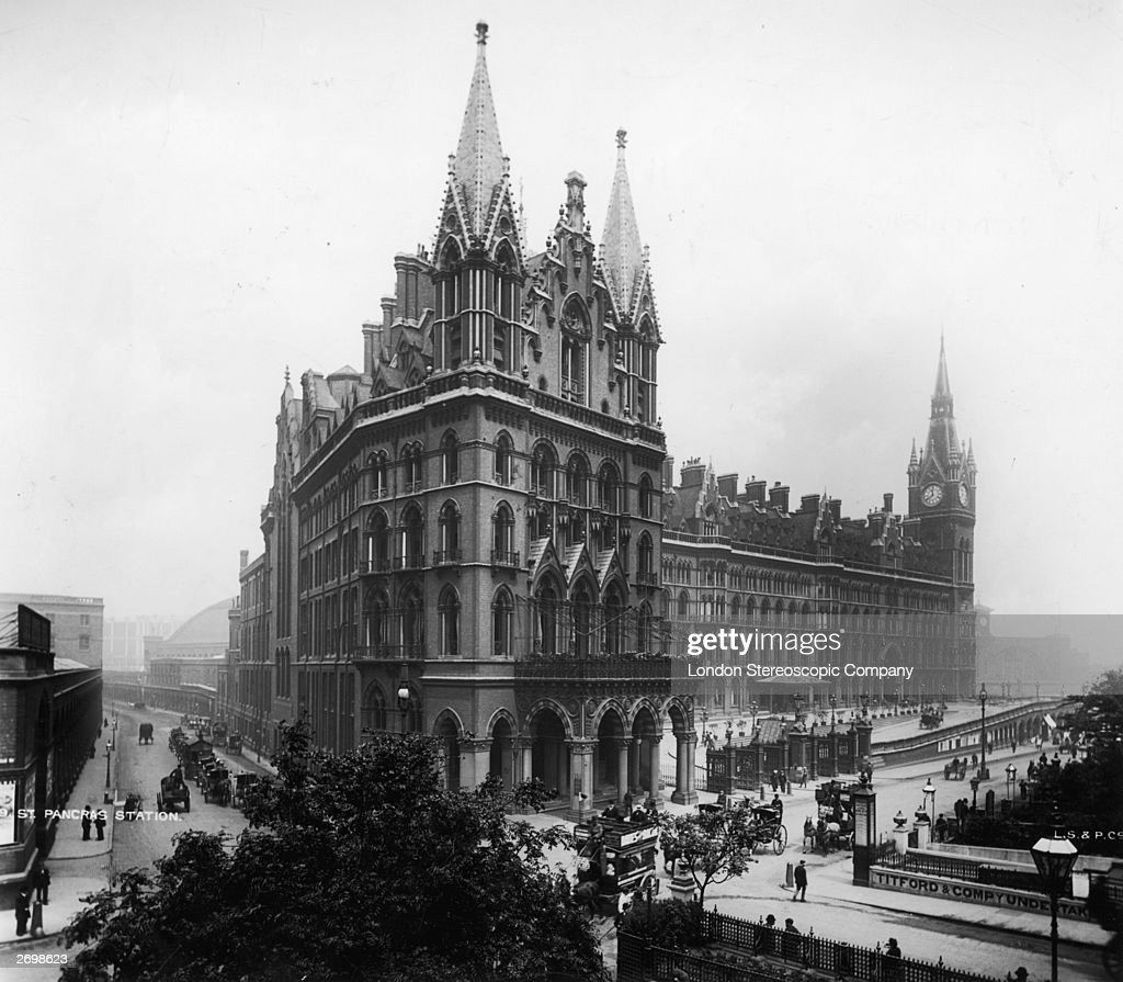 St Pancras Station and Midland Grand Hotel London designed by Victorian architect George Gilbert Scott circa 1905