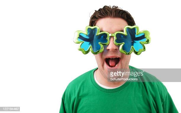 St Patrick's day glasses man
