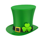 St. Patrick's Day Hat with Clover isolated on white background. 3D render