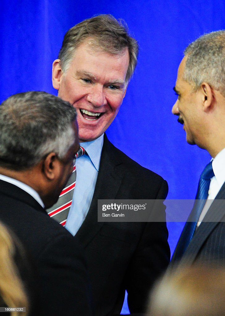 St. Paul Mayor Chris Coleman (C) speaks with U.S. Attorney General <a gi-track='captionPersonalityLinkClicked' href=/galleries/search?phrase=Eric+Holder&family=editorial&specificpeople=1060367 ng-click='$event.stopPropagation()'>Eric Holder</a>, right, and U.S. Attorney for Minnesota B. Todd Jones, left, before President Barack Obama spoke before a crowd of local leaders and law enforcement officials at the Minneapolis Police Department Special Operations Center on February 4, 2013 in Minneapolis, Minnesota. President Obama is promoting a ban on assault weapons and expanded background checks on gun buyers.