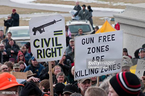 St Paul Minnesota State capitol Gun limits protest People opposed to newly proposed local and federal gun control legislation gather at the State...