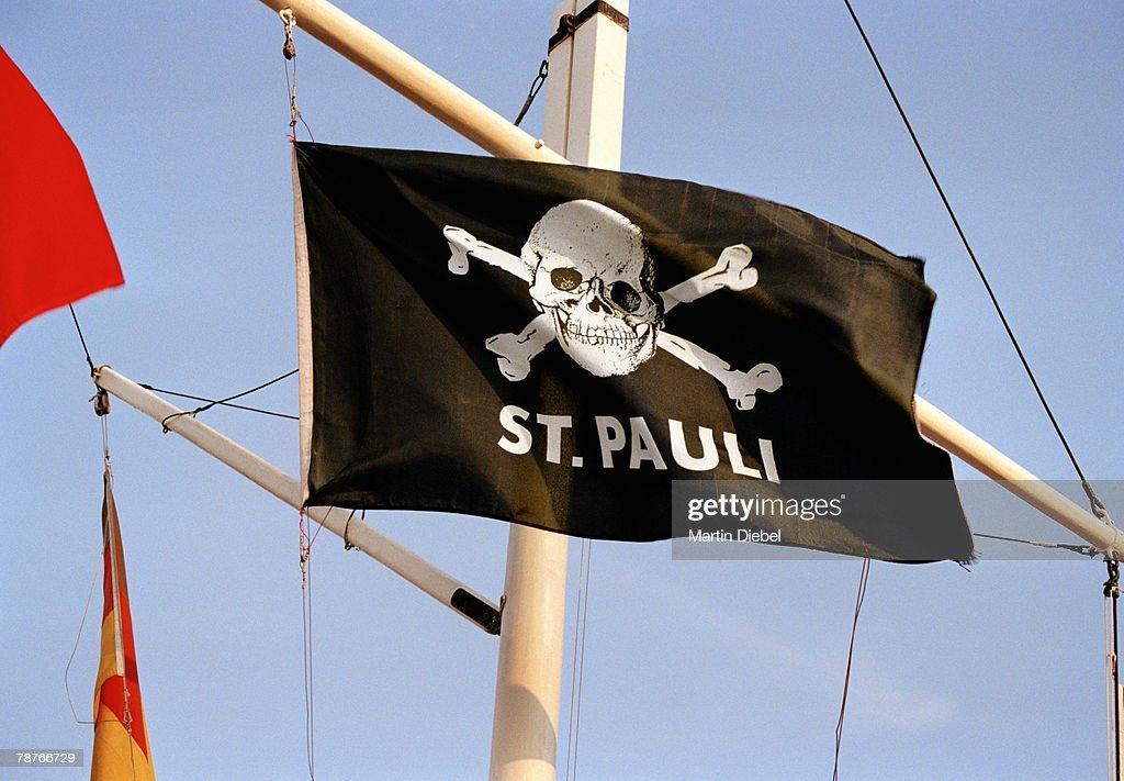 St Pauli flag on the Reeperbahn in Hamburg : Stock Photo