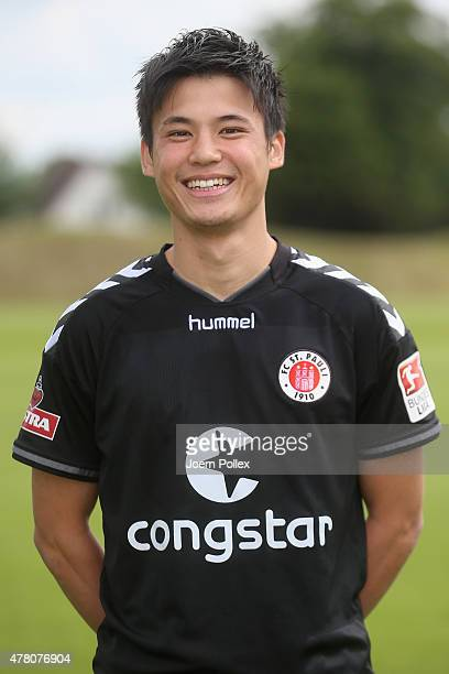St Pauli Football Club's new signing Ryo Miyaichi poses for a photograph following his transfer on June 22 2015 in Hamburg Germany