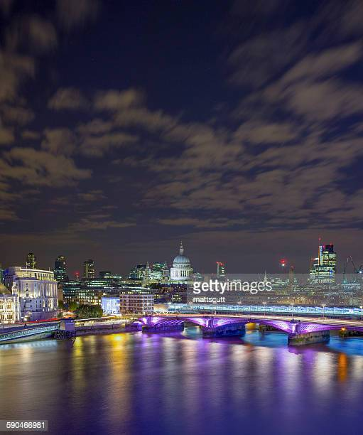St Pauls Cathedral and City of London at night, UK