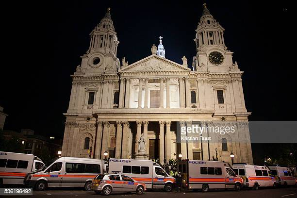 St Paul's Cathedral by night surrounded by police The London Stock Exchange was attempted occypied in solidarity with Occupy Wall in Street in New...