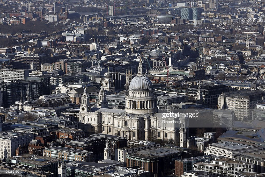 St. Paul's Cathedral, center, is seen from 'The View From The Shard', a series of viewing galleries near the top of the Shard tower in London, U.K., on Wednesday, Jan. 9, 2013. The Shard, which stands at 309.6 meters on London's South Bank, is owned by LBQ Ltd., which brings together the State of Qatar (the majority shareholder) and Sellar Property Group Ltd., with non-equity funding by Qatar National Bank. Photographer: Chris Ratcliffe/Bloomberg via Getty Images