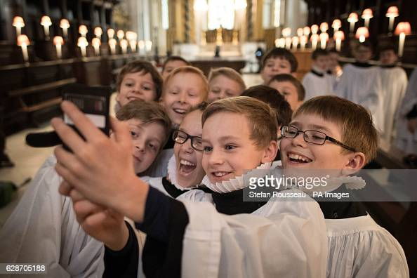 St Paul's Cathedral choristers take a selfie after a rehearsal ahead of their busiest weeks of the year