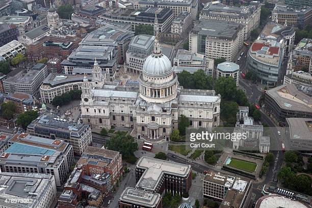 St Paul's Cathedral is pictured from a helicopter on June 13 2015 in London England