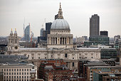 St Paul's Cathedral is pictured from the top of the extension of the Tate Modern on February 17 2016 in London England Construction on the Switch...