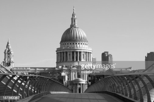 La Catedral de St.Paul, London, blanco y negro, espacio de copia