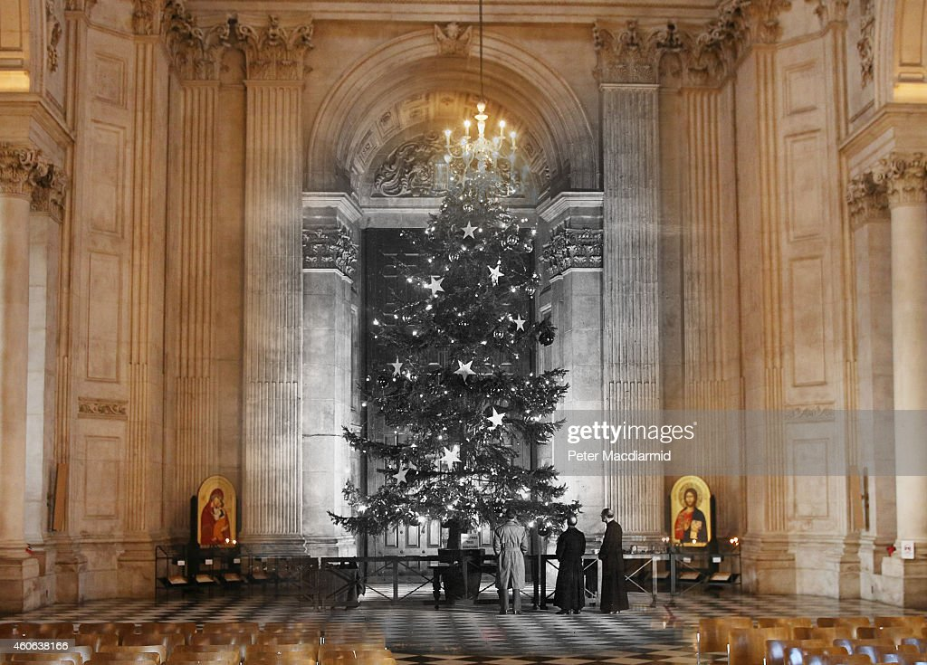 In this digital composite image a comparison has been made of London at St Paul's Cathedral in 1950 (Archive, Fox Photos) and Modern Day 2014 (Peter Macdiarmid) at Christmas time. LONDON, ENGLAND - DECEMBER 9: St Paul's Cathedral prepares for Christmas on December 9, 2014 in London, England. Christmas is an annual religious feast day originally set on December 25 to celebrate the birth of Jesus Christ and is a cultural festival and public holiday celebrated by billions of people around the world.