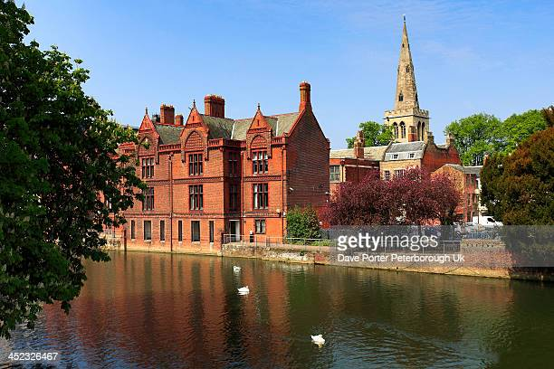 St Pauls church and the river Great Ouse