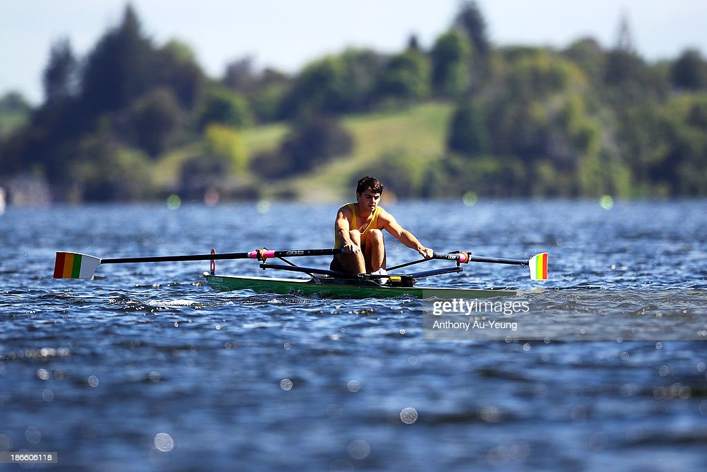 St Pauls Collegiate R.C crew competes during the Te Awamutu Rowing Clubs Annual Club Regatta at Lake Karapiro on November 2, 2013 in Karapiro, New Zealand.