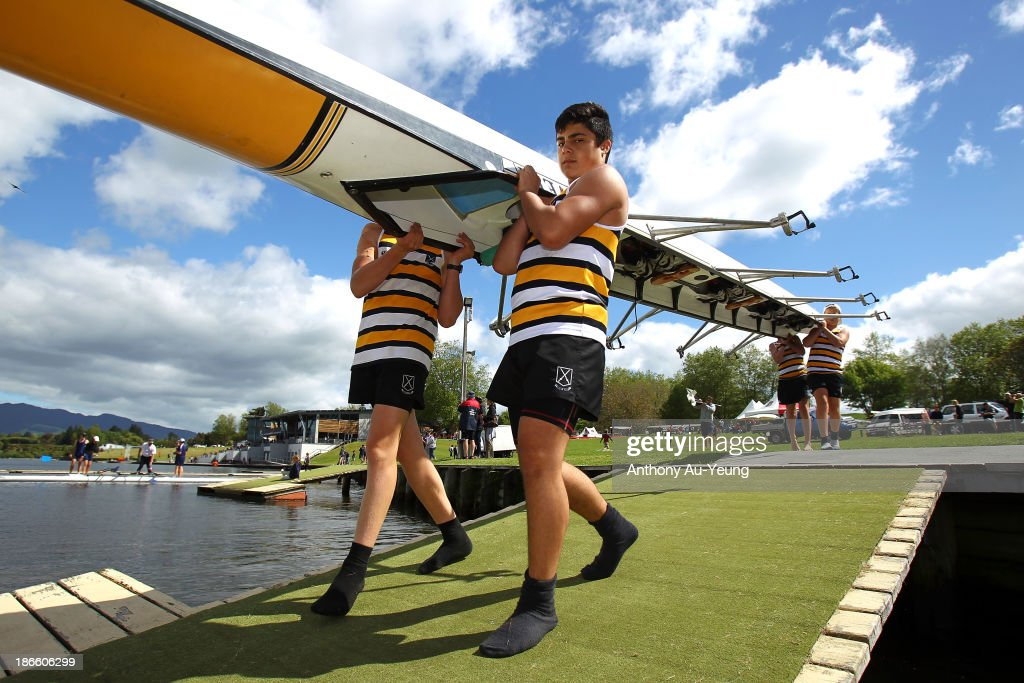 St Pauls Collegiate R.C crew members prepare their race during the Te Awamutu Rowing Clubs Annual Club Regatta at Lake Karapiro on November 2, 2013 in Karapiro, New Zealand.
