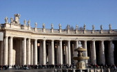 St Peter Square Berni colonnade and Maderno fountain on Decemper 31 2009 in Rome Italy