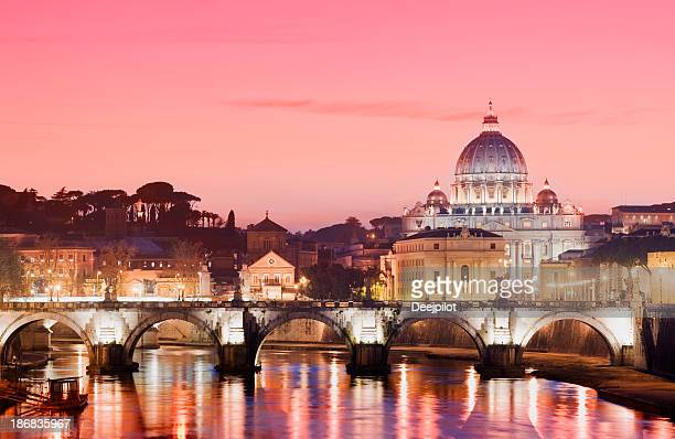 St Peters Basilica and River Tiber in Rome Italy