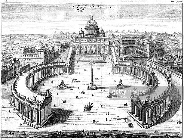 St Peter's Basilica and the elliptical piazza and colonnades designed by Bernini Rome 1702 From Nouveau Voyage d'Italie Copperplate engraving