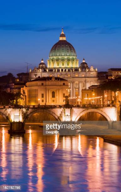 St Peters Basilica and Tiber River in Rome Italy